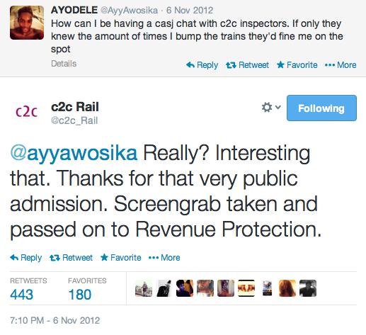 c2c trains Twitter team catch fare evader