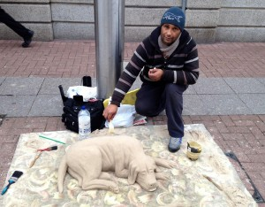 Sand dog artist in Southend High Street