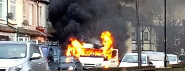 Van bursts into flames in Shoebury