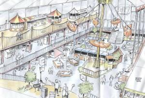 Artist impression of the indoor fun park